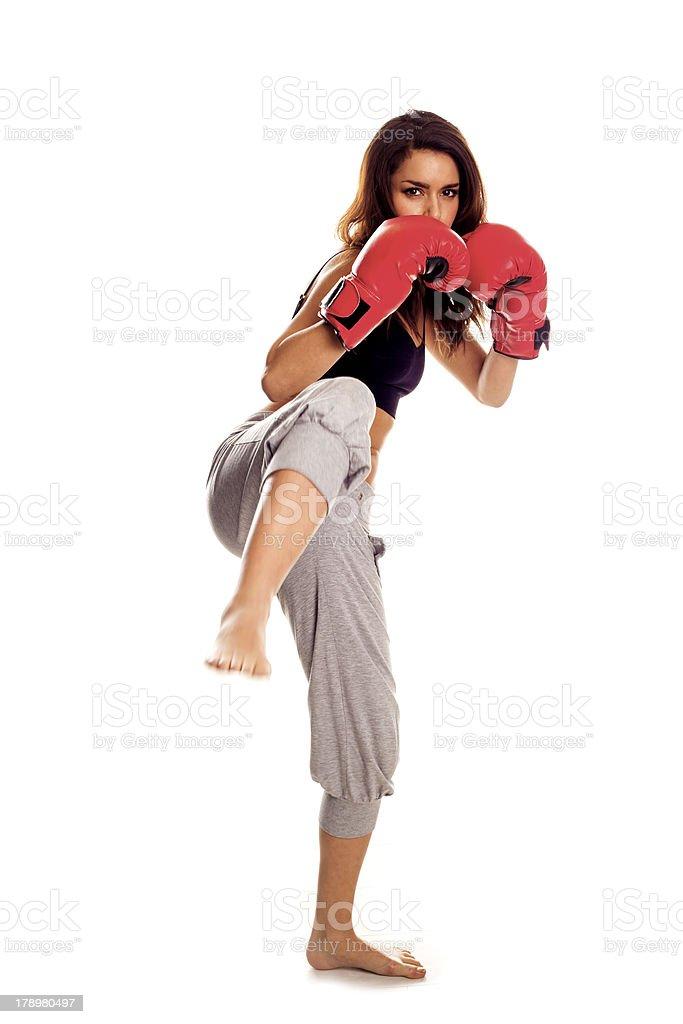 Kickboxing woman. royalty-free stock photo