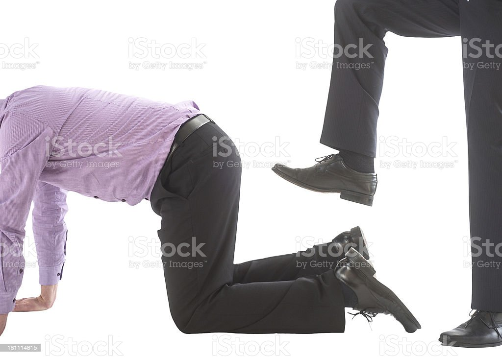 kicked and fired from boss royalty-free stock photo