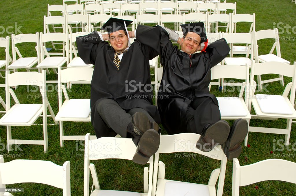 Kickin' back after the graduation royalty-free stock photo