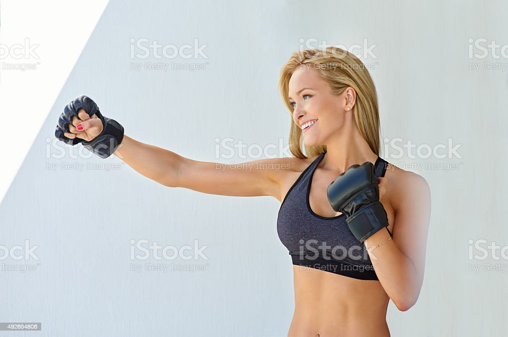Kicking off the day with some kickboxing stock photo