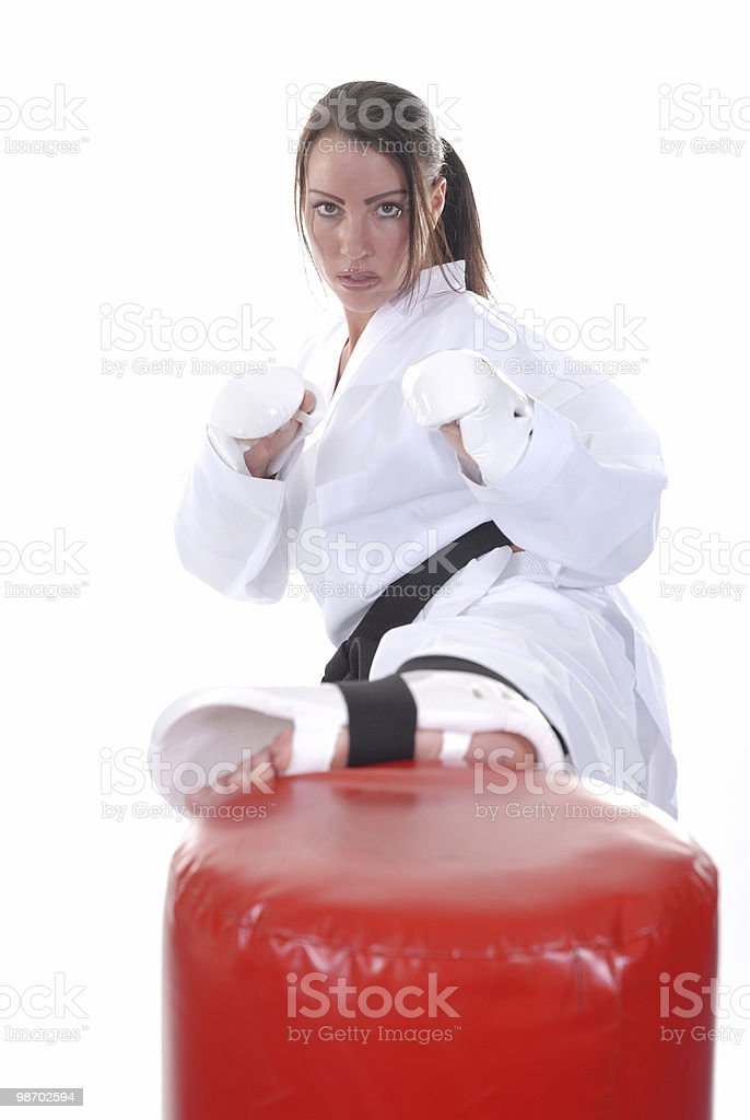 Kicking the workout bag royalty-free stock photo