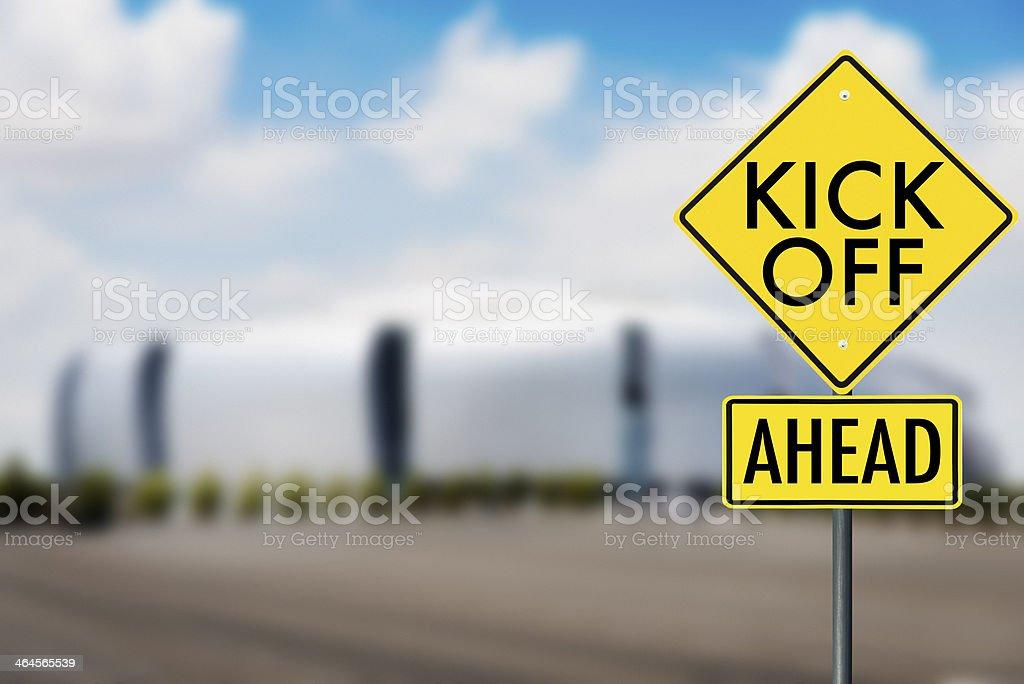 kickoff game road sign stock photo