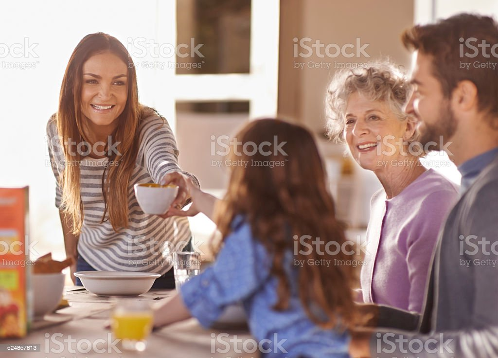 Kickstarting the day with some breakfast stock photo