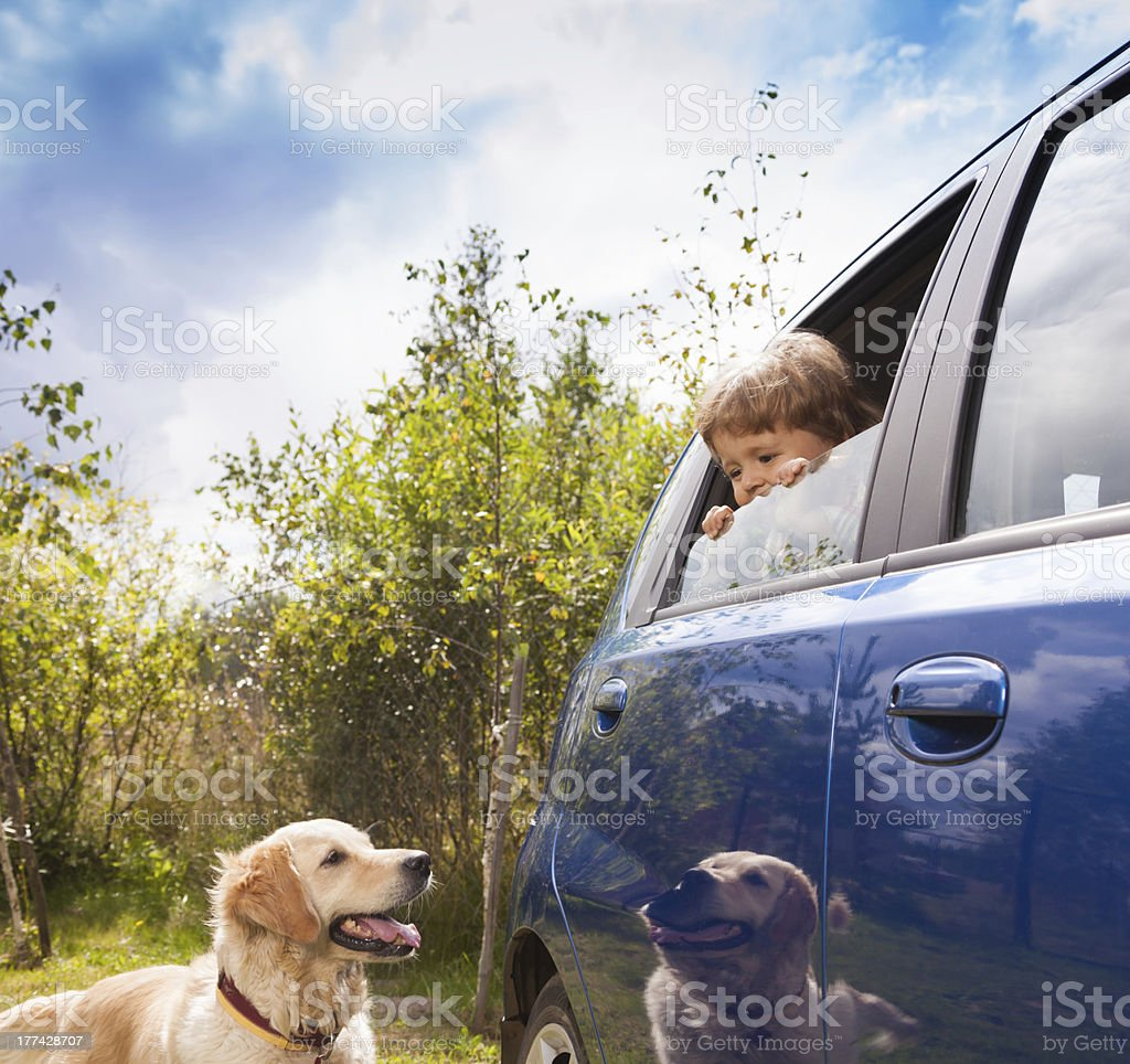kid and dog look at each other royalty-free stock photo