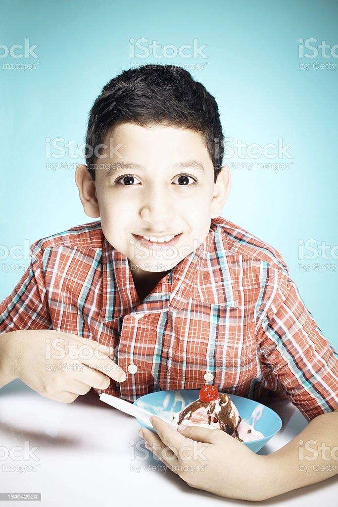 Kid and ice cream stock photo