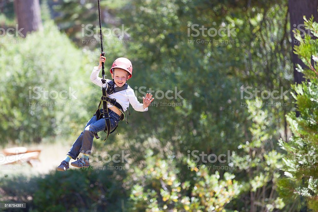 kid at adventure park stock photo