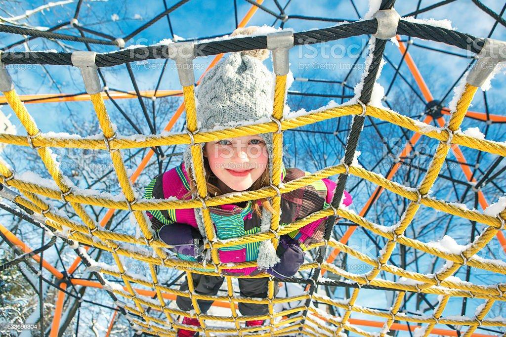 Kid at the playground stock photo