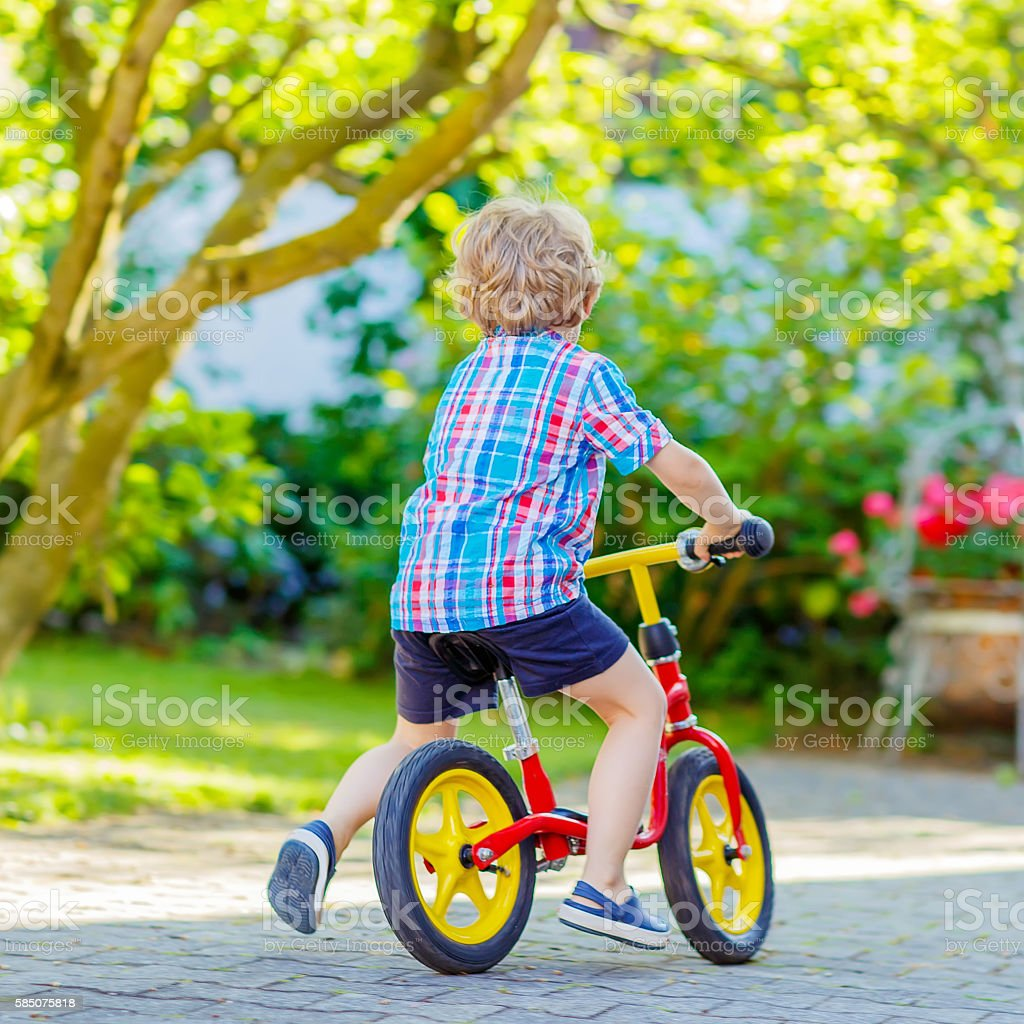 kid boy driving tricycle or bicycle in garden stock photo