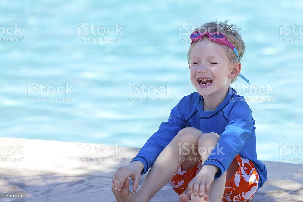 kid by the swimming pool royalty-free stock photo