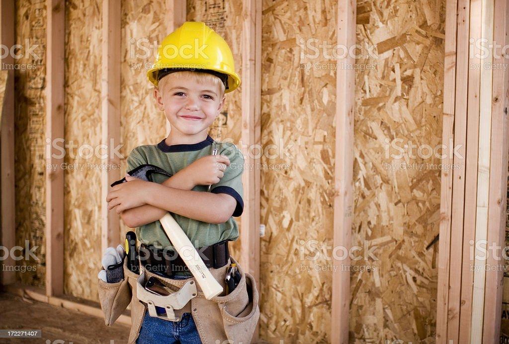 Kid Carpenter stock photo