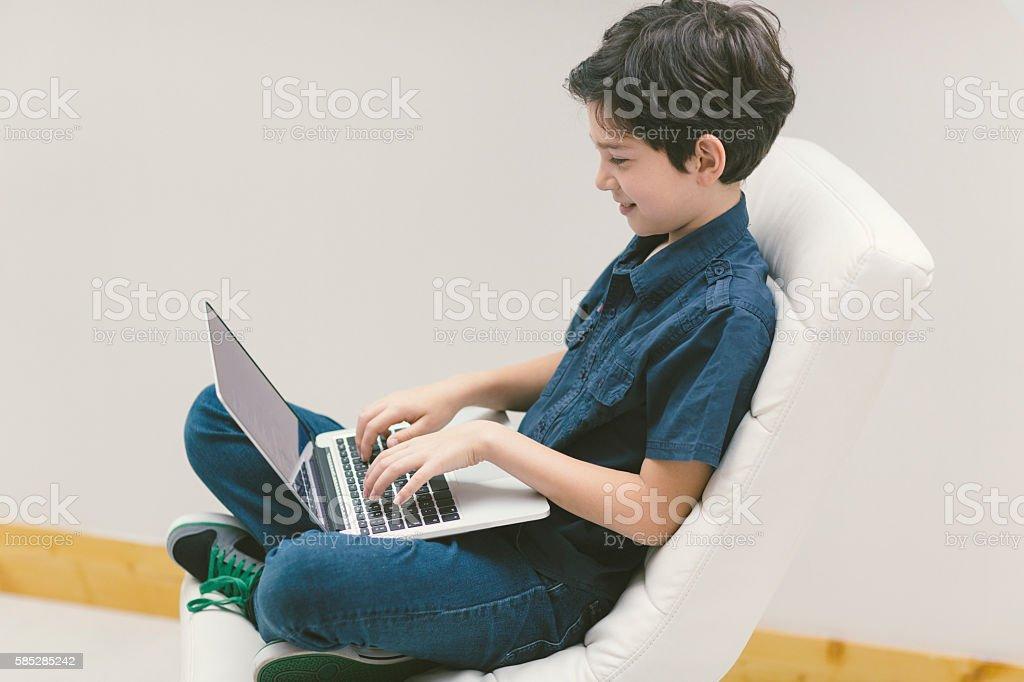 Kid Coding In School stock photo