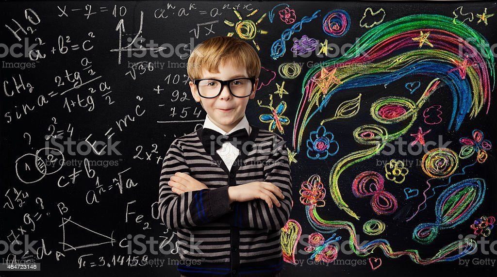 Kid Creativity Education Concept, School Child Learning Art Mathematics Formula stock photo