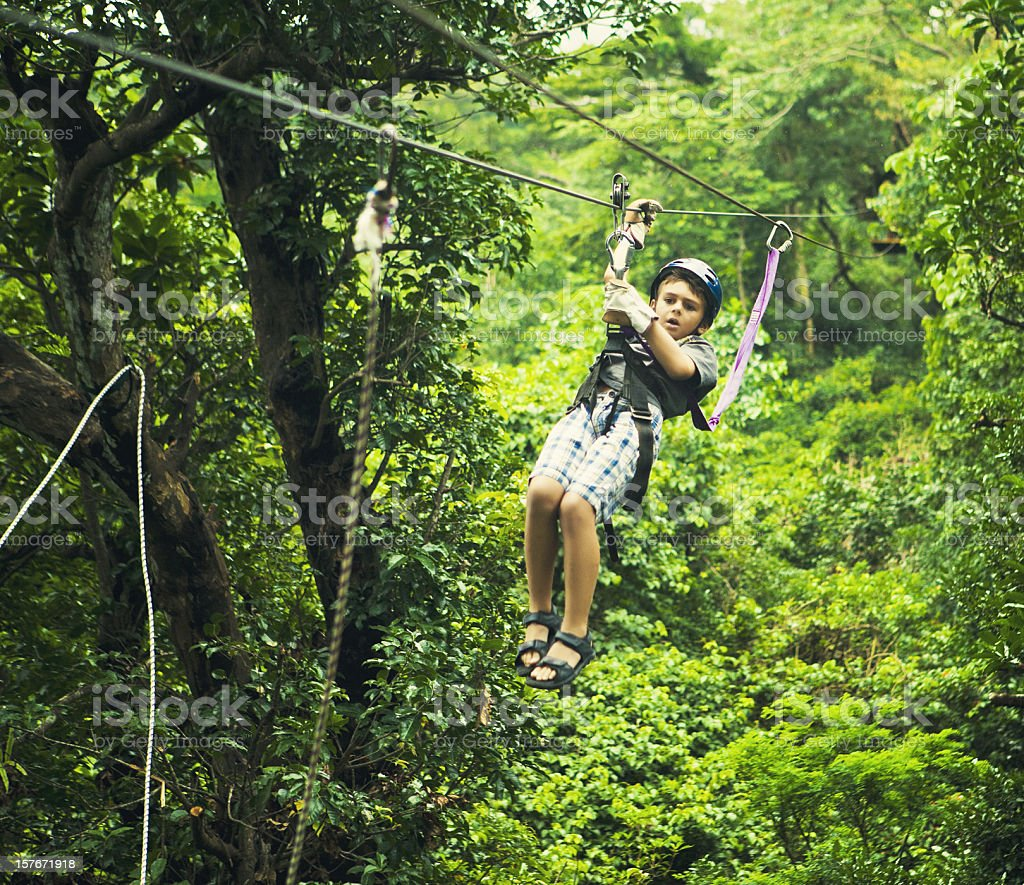 kid during a Canopy Tour Costa Rica royalty-free stock photo