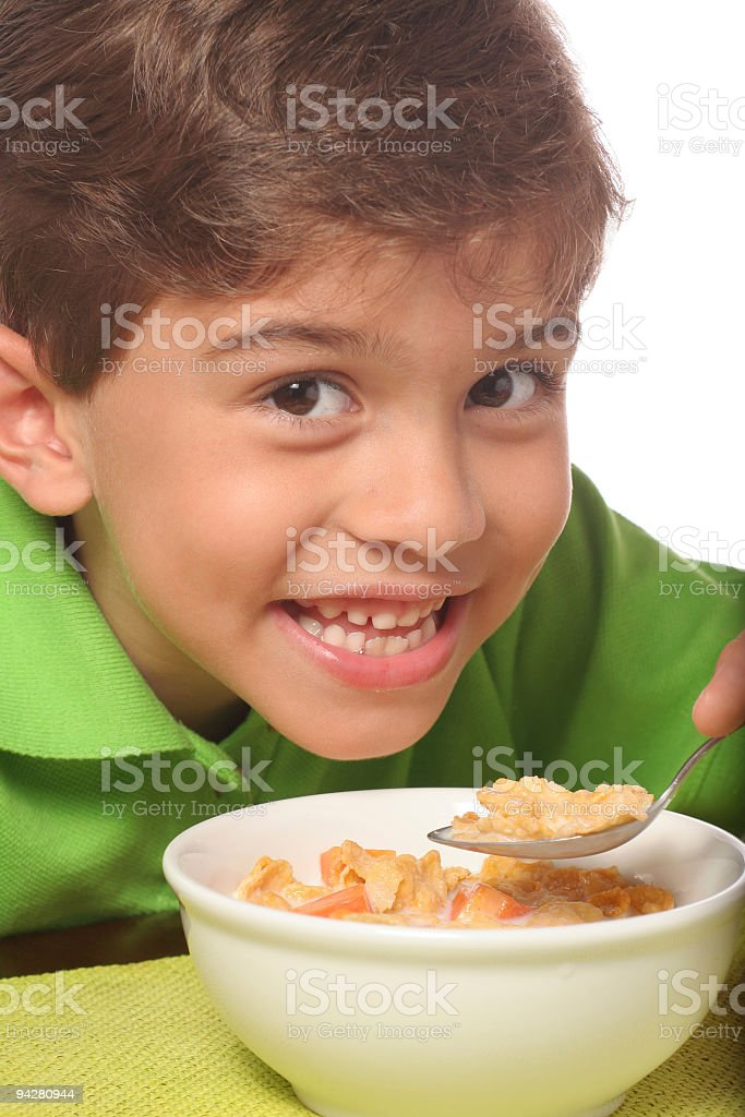 Kid Eating Cereal royalty-free stock photo