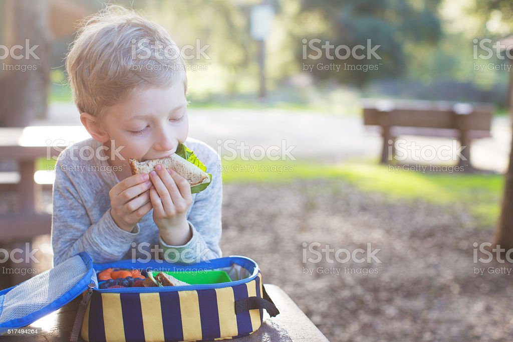 kid eating lunch at school stock photo