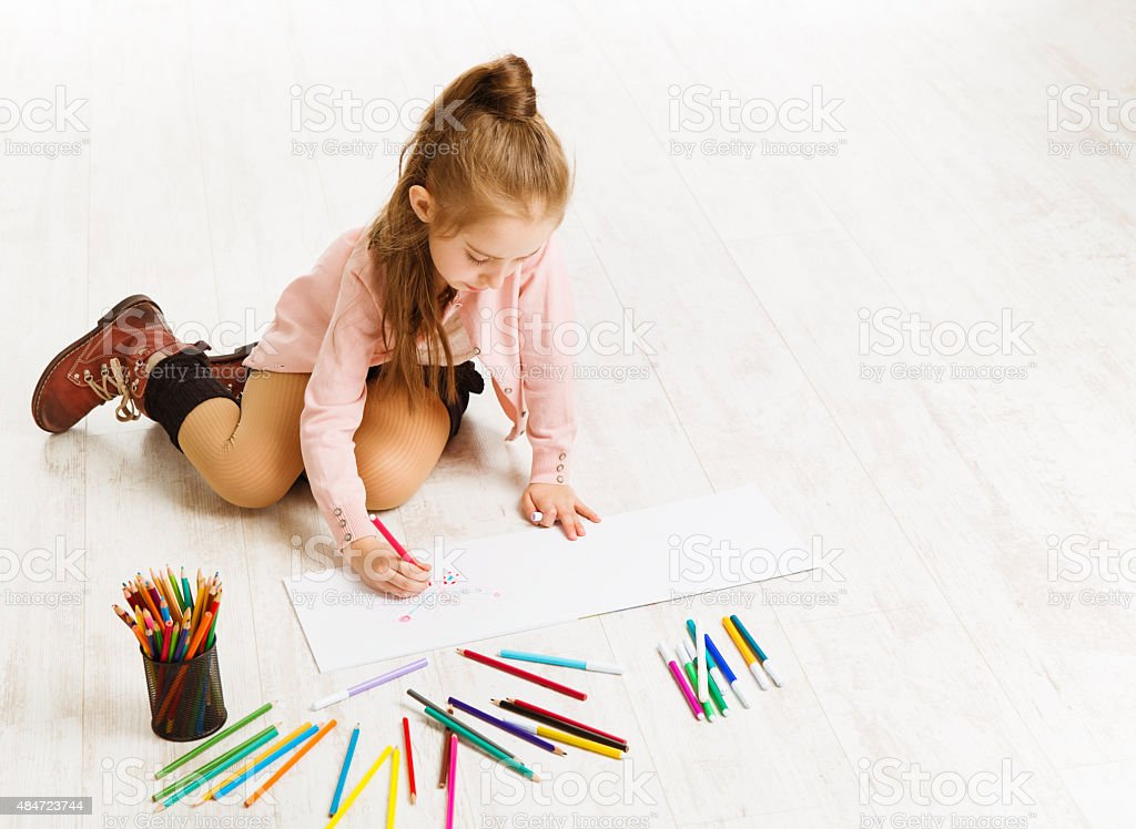 Kid Girl Drawing Color Pencils, Artistic Child Education, Painting White stock photo