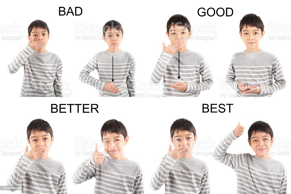 kid hand sign language on white background stock photo
