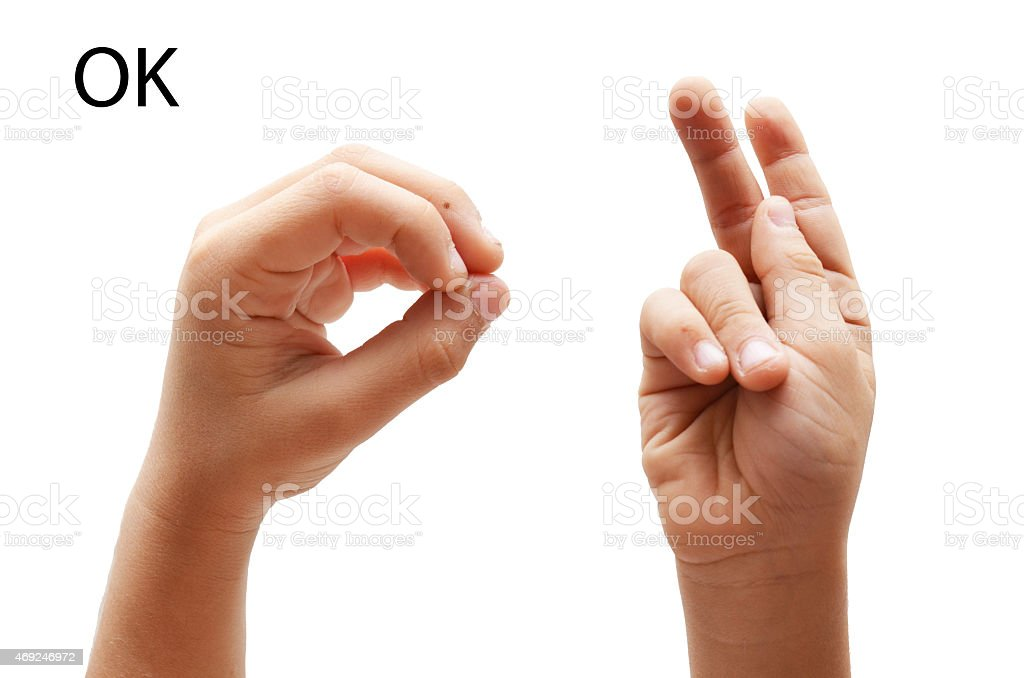 OK kid hand spelling american sign language ASL stock photo