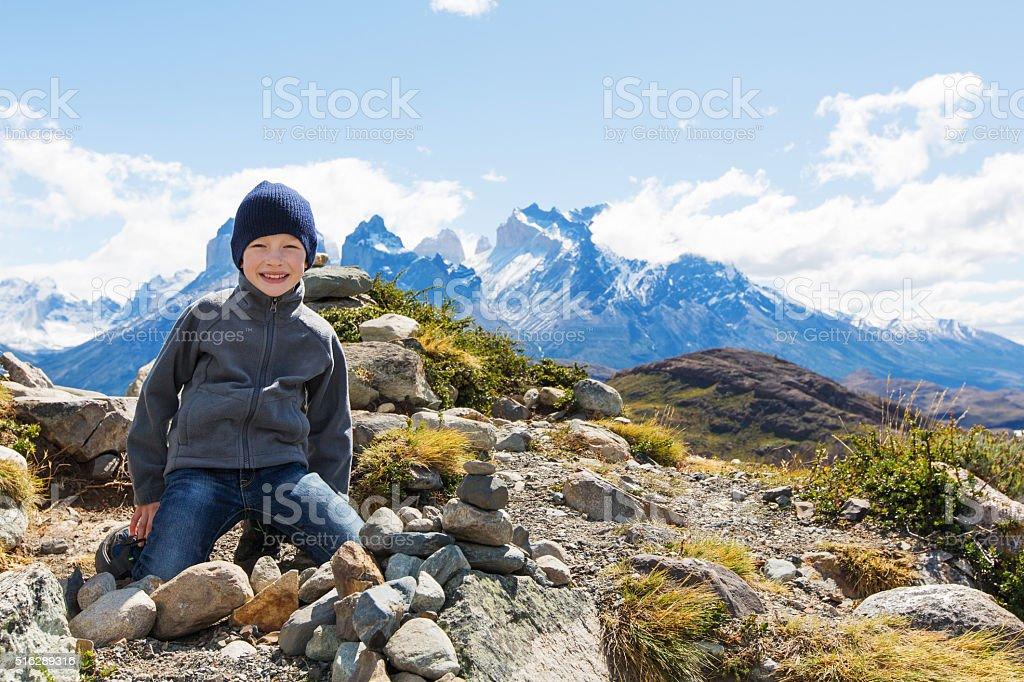 kid hiking in patagonia stock photo