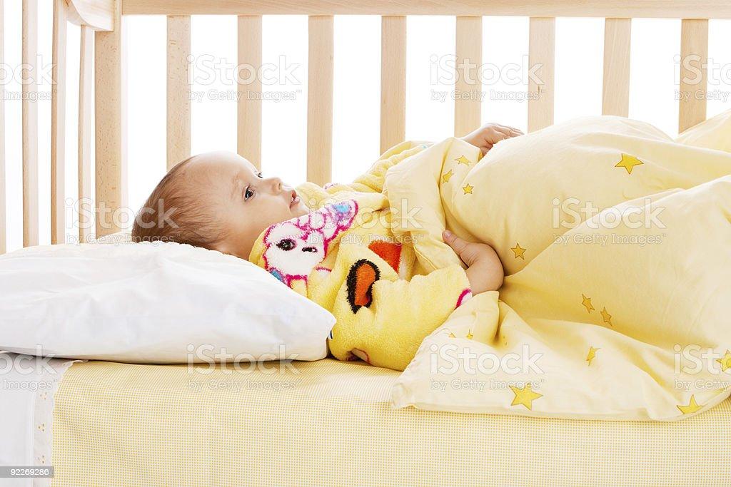 Kid in crib royalty-free stock photo