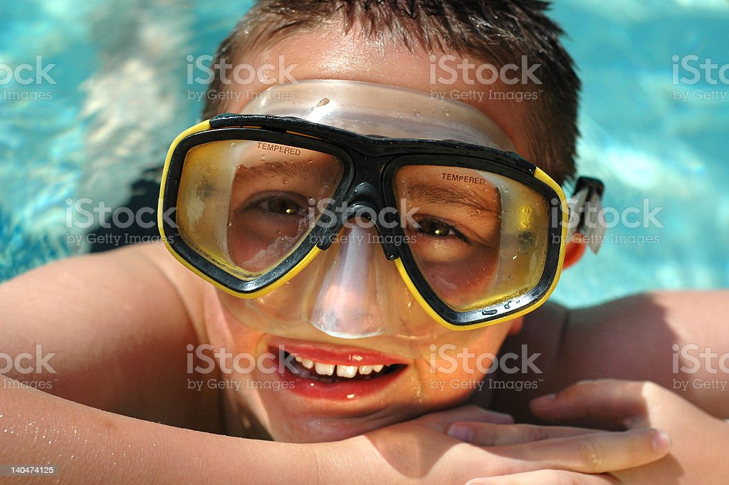 Kid in the water on a hot summer day royalty-free stock photo