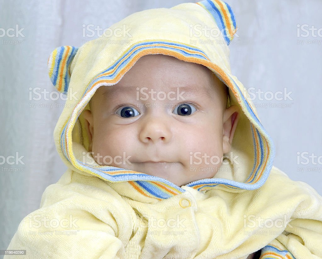 kid in yellow  hood royalty-free stock photo