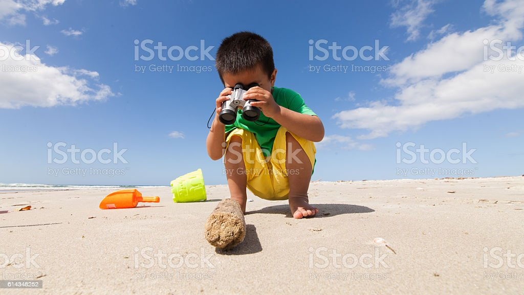 Kid Inspecting Log at Beach. stock photo