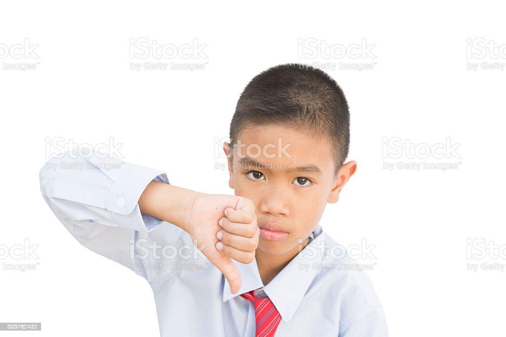 Kid making bad sign overwhite background stock photo