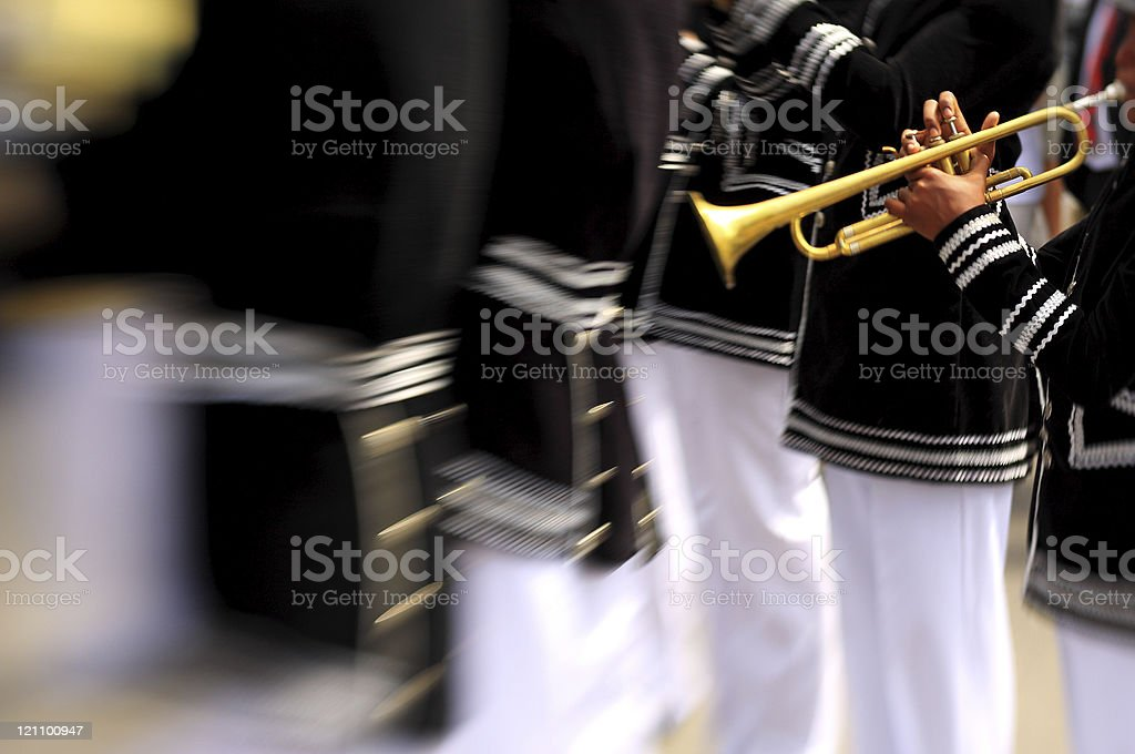 Kid musician on a band royalty-free stock photo