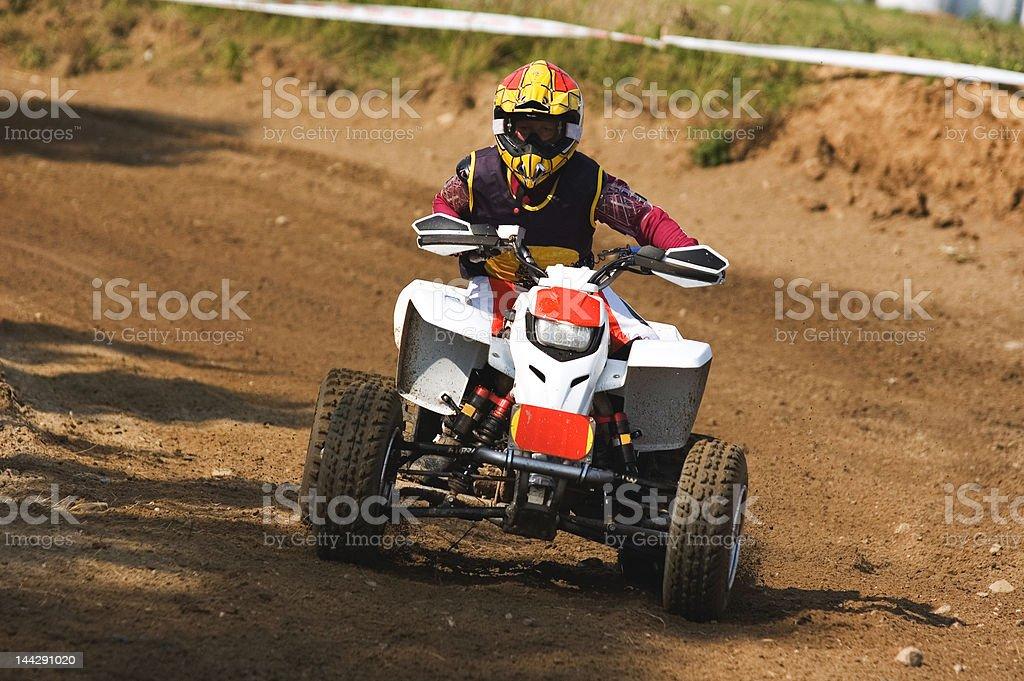 Kid on Quadbike. stock photo