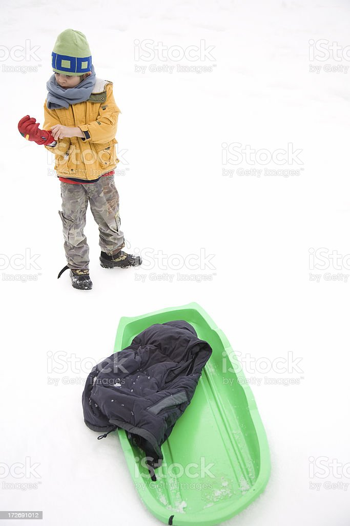 Kid On Snow Looking royalty-free stock photo