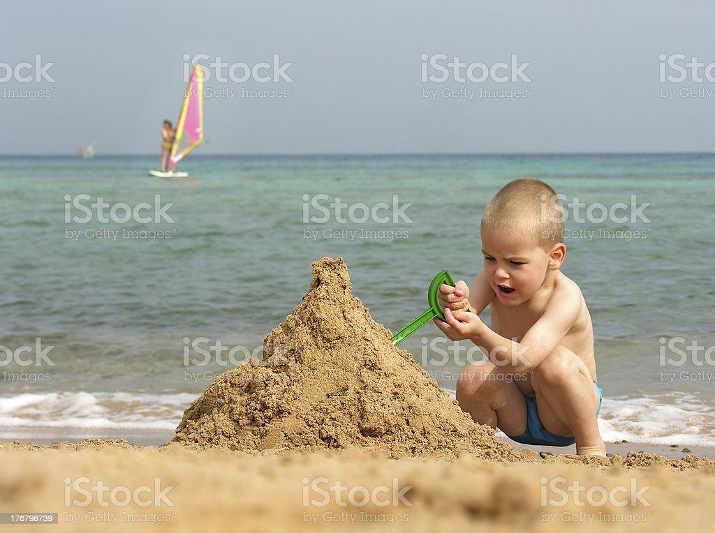 kid play on beach royalty-free stock photo