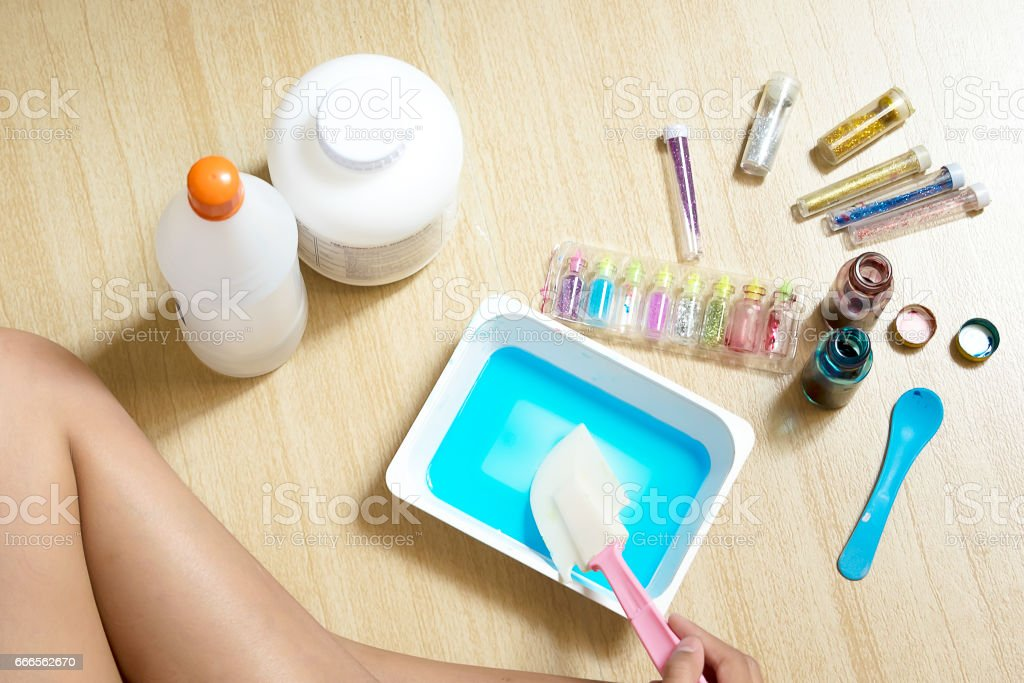 Kid Playing Hand Made Toy Called Slime, Experiment Scientific Method, Inspire to be the Scientist stock photo