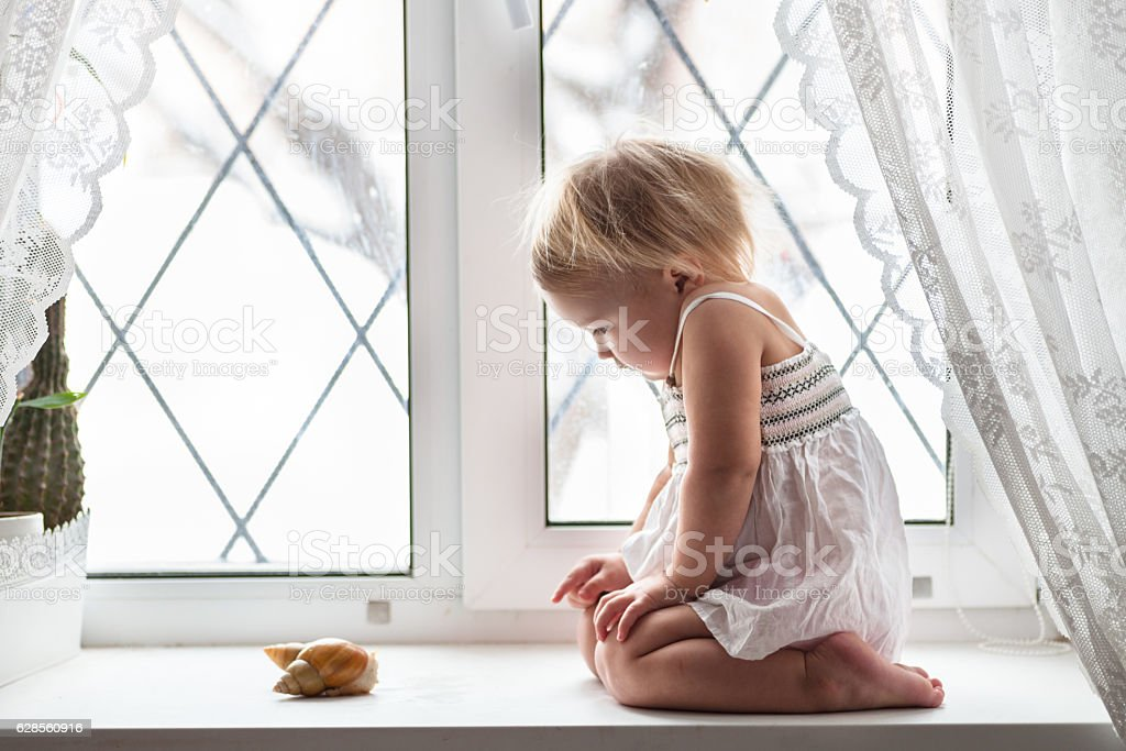 kid  plays with big snail on  window real interior, lifestyle, stock photo