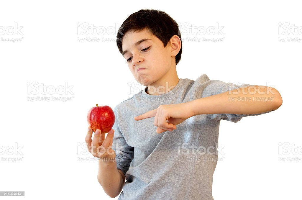 Kid pointing an Apple royalty-free stock photo