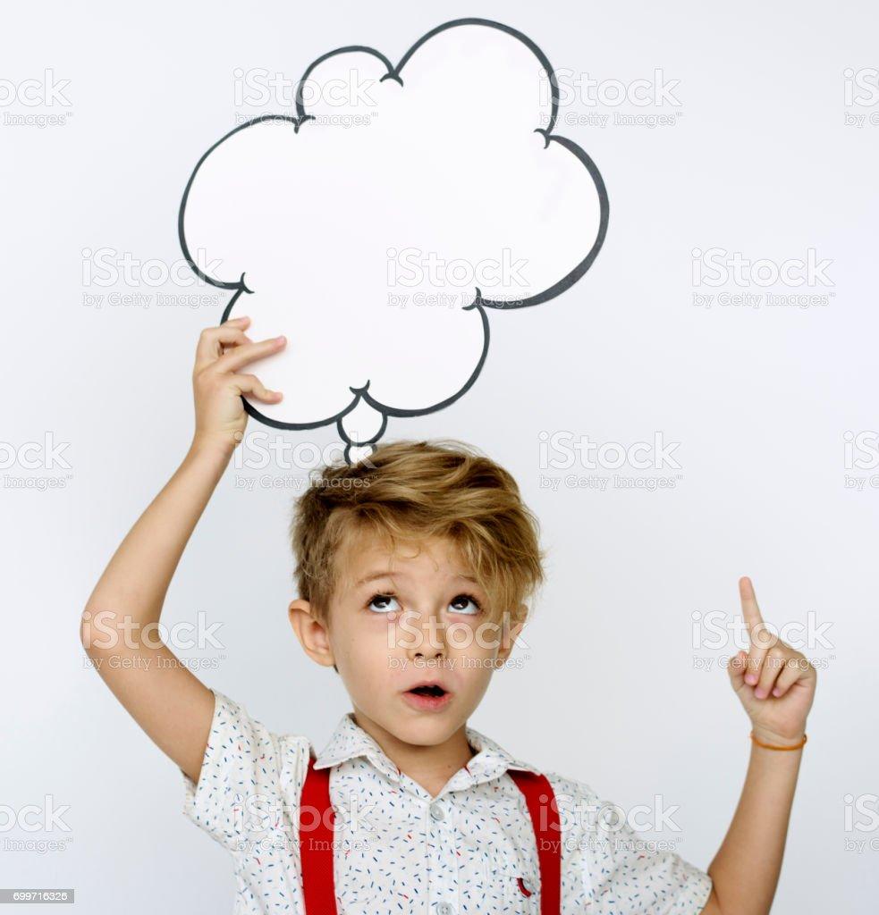 Kid portrait holding paper icon stock photo