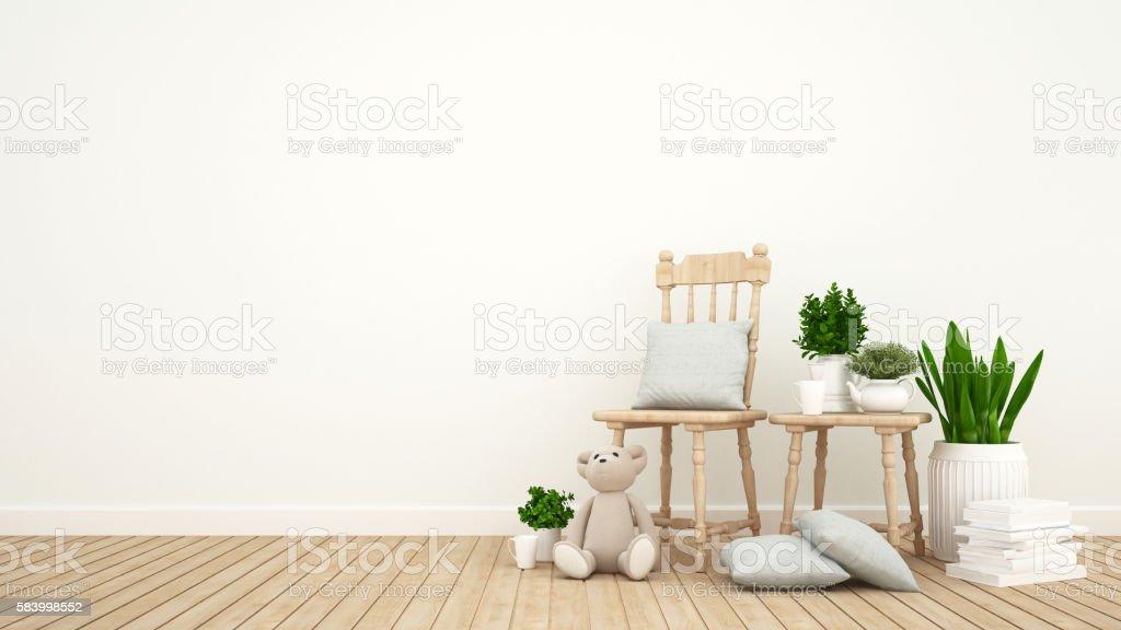 kid room or living room and indoor garden - 3D Rendering stock photo