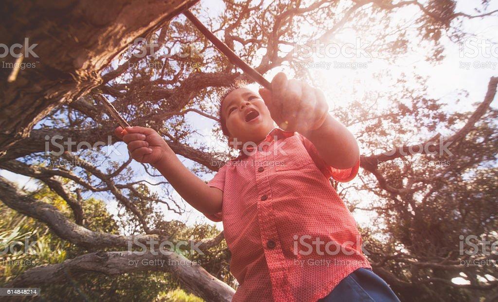 Kid singing loud. stock photo