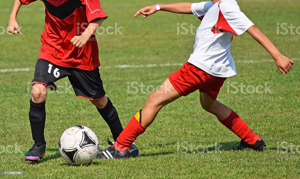 Kid soccer match stock photo
