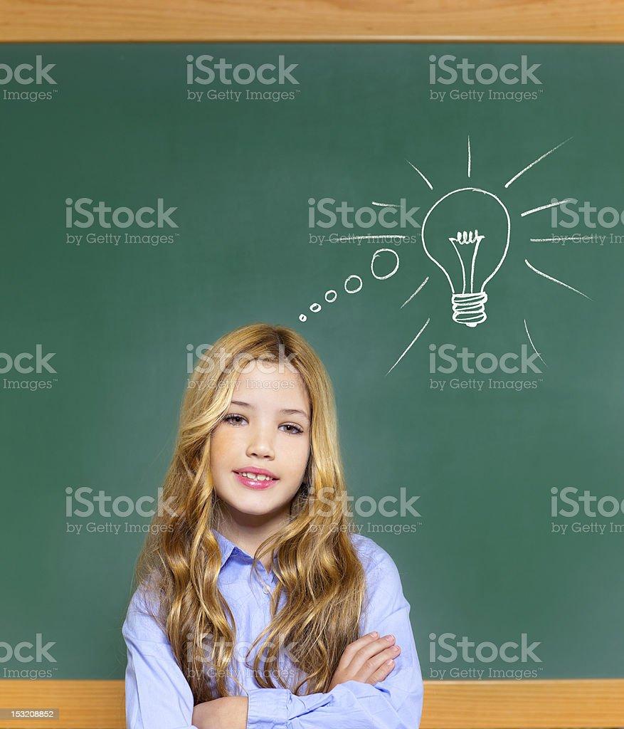 kid student girl on green school blackboard royalty-free stock photo