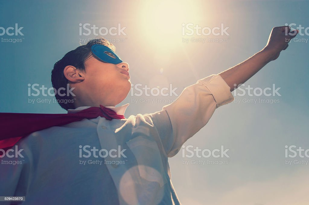 Kid superhero concept stock photo
