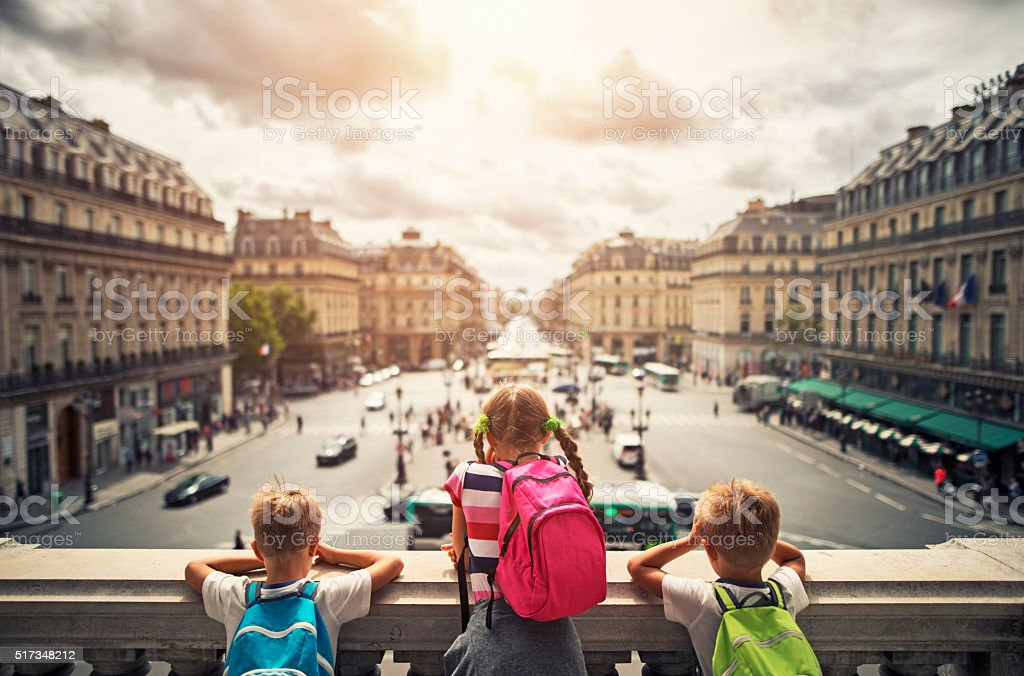 Kid tourist visiting paris stock photo