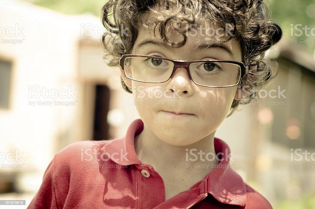 Kid whit big glasses royalty-free stock photo