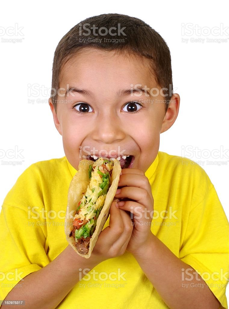 kid with a taco royalty-free stock photo