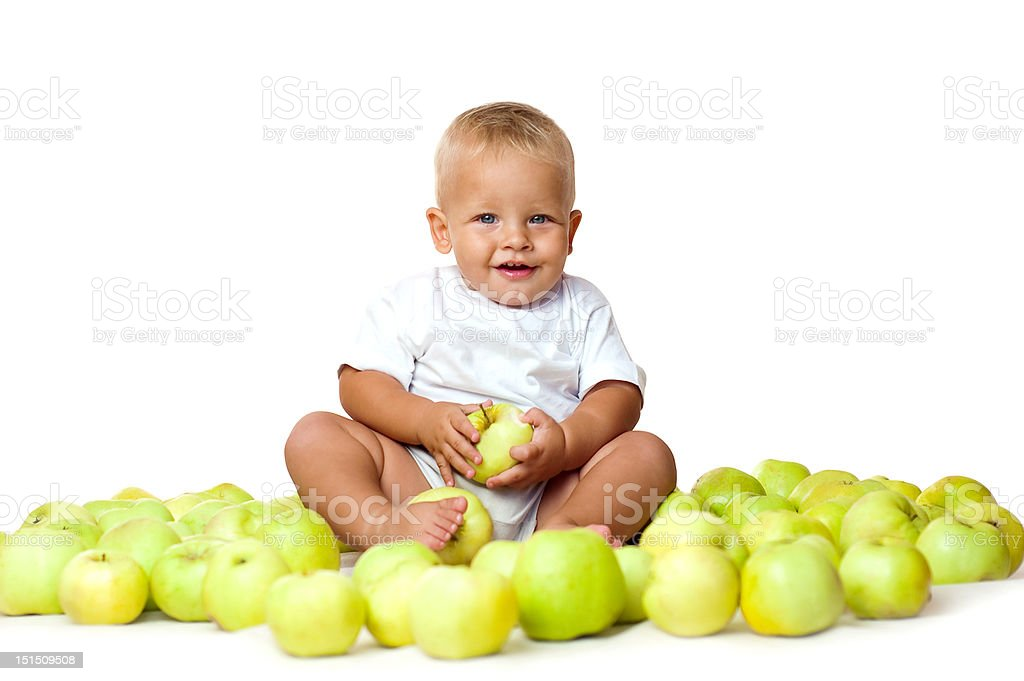 kid with apples royalty-free stock photo