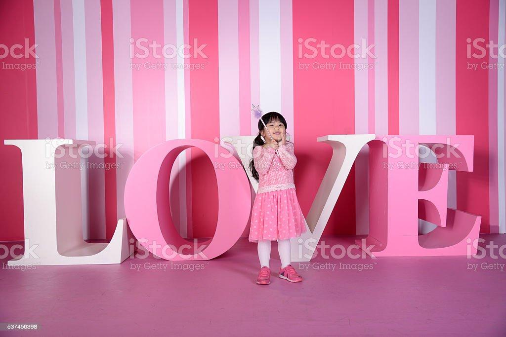 Kid with Love stock photo