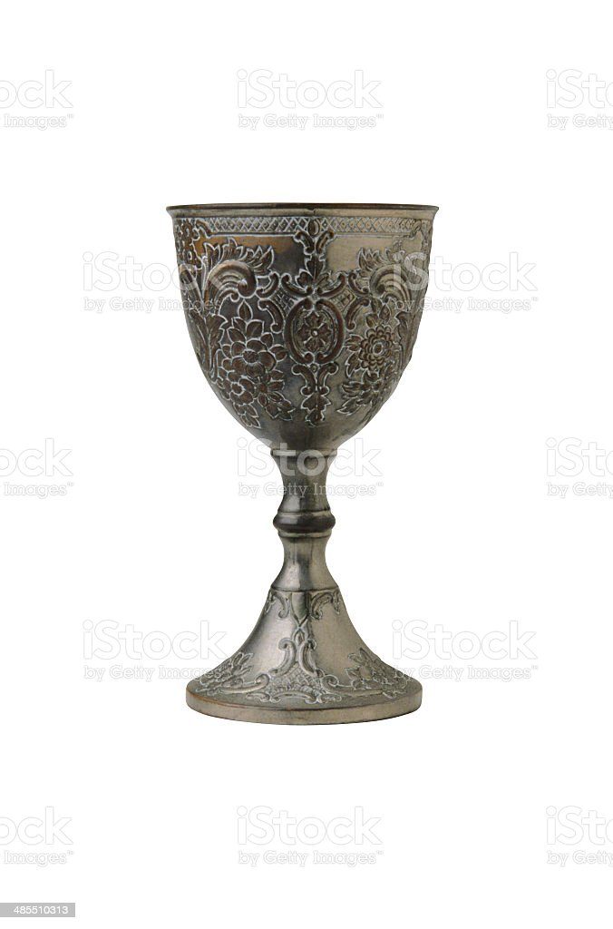 Kiddish cup with wine stock photo
