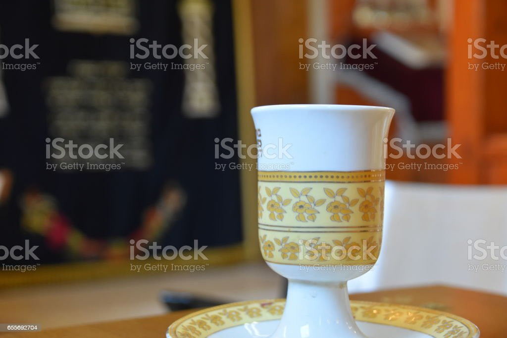 Kiddush cup in a synagogue stock photo
