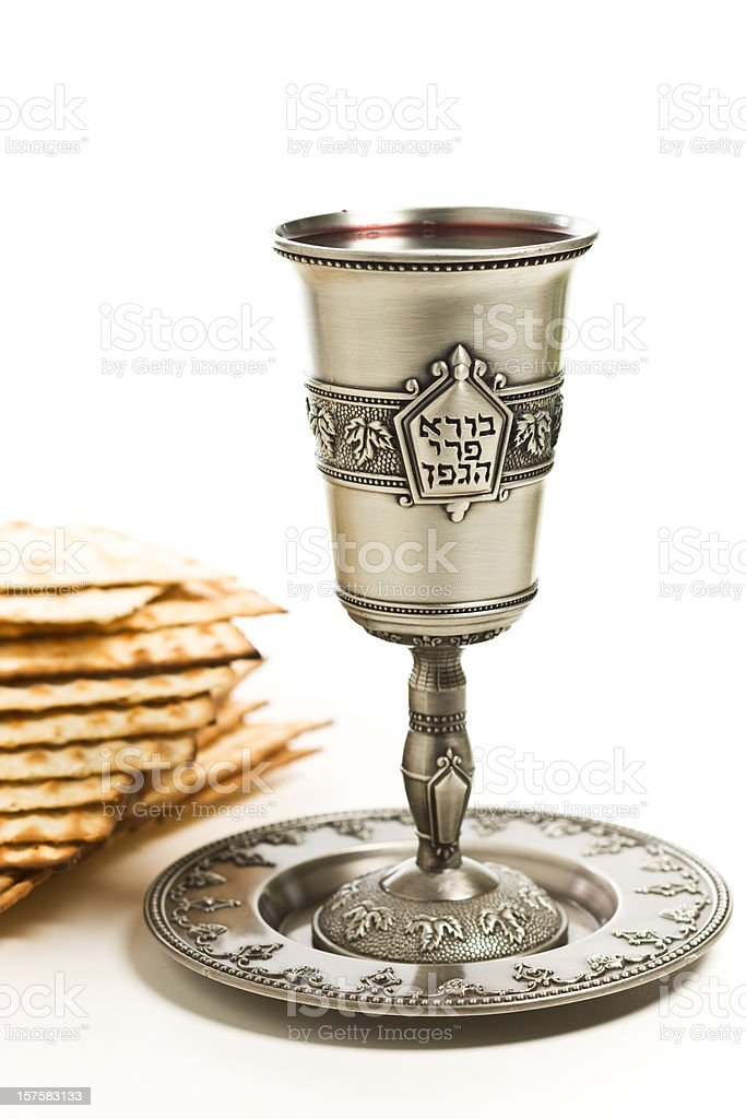 Kiddush cup with matzo royalty-free stock photo