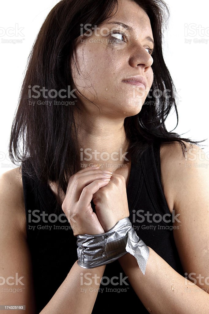 Kidnapped woman on a white background royalty-free stock photo